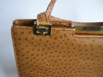 Ackery large vintage ostrich leather bag 003