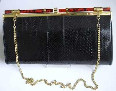 Ackery designer navy blue snakeskin clutch/shoulder bag. new