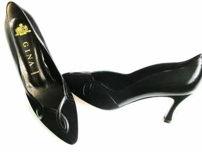 Gina designer shoes black leather/suede courts size5 new