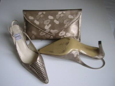 Renata brocatto beige matching shoes bag size6.5 004