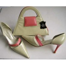 Designer shoes matching bag Capollini pale green/pink size 5.5.
