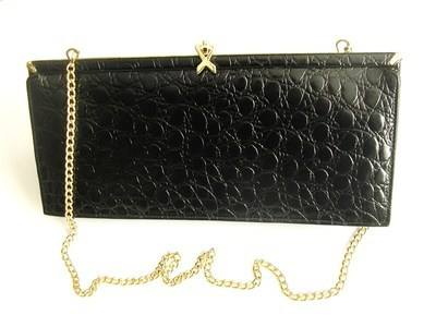Ackery designer bag.black leather shoulder/clutch .