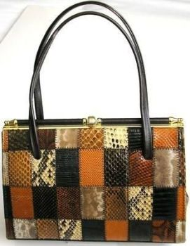 Elbief designer handbag .patchwork snakeskin stunning vintage