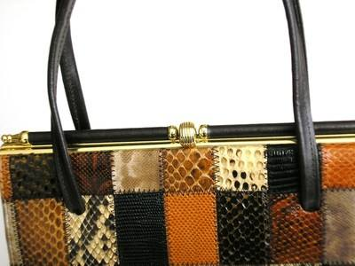 Elbief brown patchwork leather bag 003