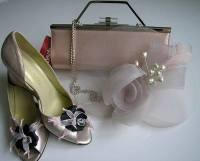 Mother bride wedges matching Renata bag fascinator pinks size5.5