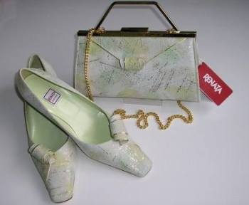 Renata mother bride shoes matching bag pale green gold  6.5
