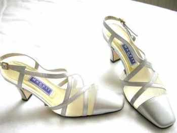 Magrit  wedding  shoes pearlised silver grey leather size 3.5 .