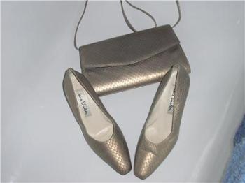Jane Shilton shoes matching  bag Matt Gold snake skin Size 5.5 vintage