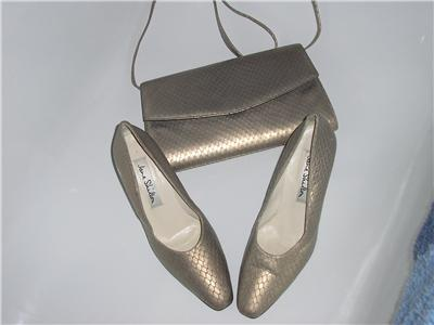 Jane Shilton shoes matching  bag Matt Gold snake skin Size 5.5 vintage