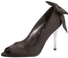 Carvela designer shoes peeptoe black satin bow  Size 7 .