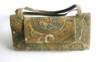 Gina London bag.fabric print.moss green gold tan vintage
