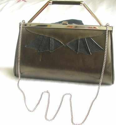 Gina designer leather 3 way handbag dark bronze vintage