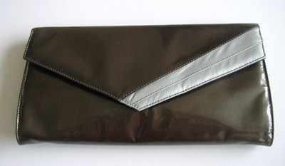 Renata designer bag,envelope clutch .brown patent with silver