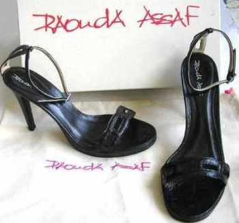 Designer shoes.Rouda Assaf Stiletto heels black leather size 4
