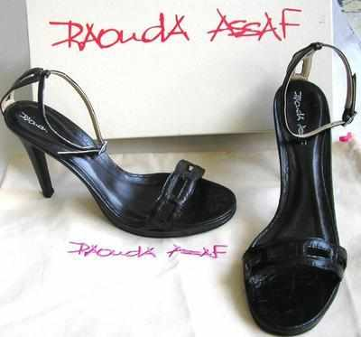 Designer shoes.Rouda Assaf  Stiletto heels black leather,size 4