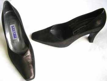 Magrit leather courts bronze lurex size 6