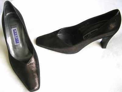 Designer shoes ,Magrit leather courts.bronze lurex. size6