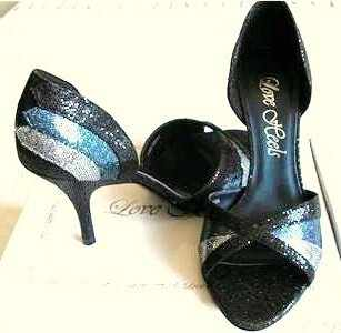 Schuh designer shoes Blue Black peeptoe Stilettos. size 7 New
