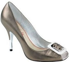 Miss Sixty designer shoes.peeptoe.buckle,pewter.size 5.new