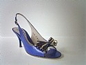Carriere designer peep toe shoes blue kid size 5 new