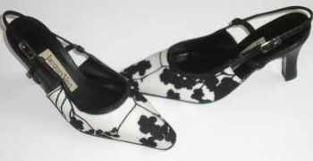 Jacques Vert designer shoes black white slingbacks size 3.5