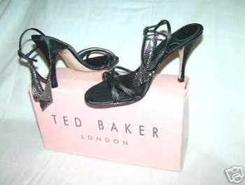 Designer Ted Baker black satin sandals,mesh detail size 4.new