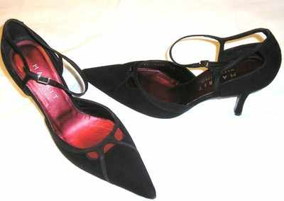 Magrit designer shoes black nubuck stiletto heels Size 7