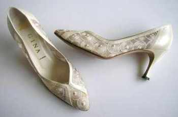 Gina evening wedding designer shoes cream lace size 5.5.