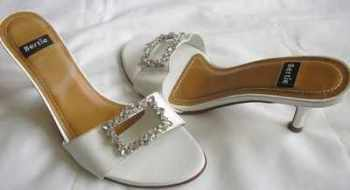 Bertie shoes white leather mules sandals crystals size 5.