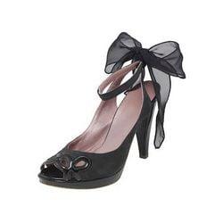 Miss Sixty designer platform peeptoe shoes black bow .size 5.new