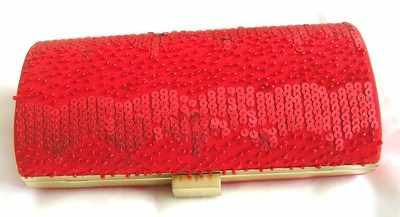 Jacques Vert red barrel evening bag sequins beads clutch/shoulder