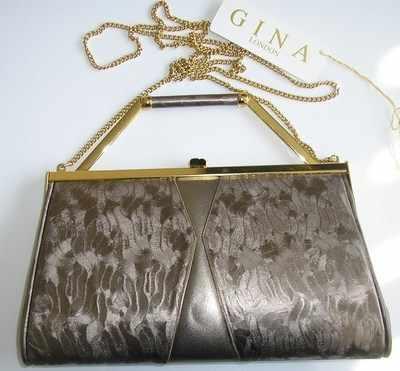Gina clutch,shoulder,carry handbag light pewter leather.