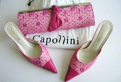 pink court shoes and matching bag