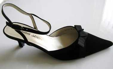 Designer shoes Lisa Kay black suede slingback Size 4 .