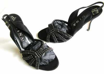 Gina designer strappy shoes black suede black diamonte Paradise Size 5.5