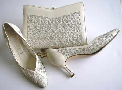 Gina designer shoes matching bag.ivory mesh,leather.size 6.5