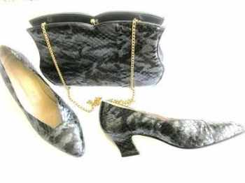 Gina designer shoes bag grey black snakeskin design size 6 used