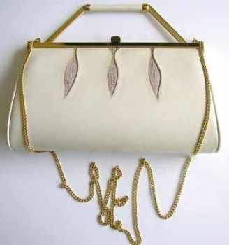 Gina London bag 3 way ivory kid leather with lilac and gold inserts