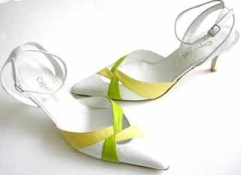 Capollini designer shoes white lime yellow size 7