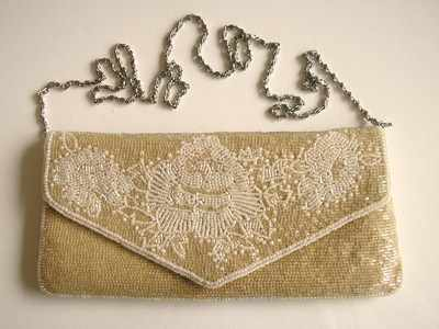 Jacques Vert silky bead and pearl encrusted bag.Oyster.New