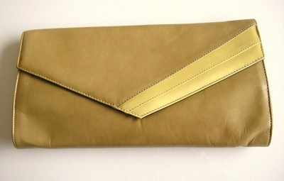 Renata designer clutch bag tan with yellow trim.
