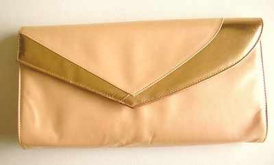 Renata evening bag envelope clutch peachy pink with copper