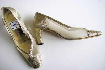 Renata designer shoes gold,mesh,mother of the bride size 2.5