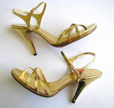 Pedro Garcia designer shoes gold strappy sandals size 7