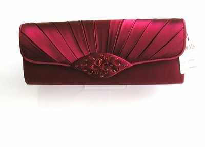 Designer evening bag by Dents crimson red satin.crystals