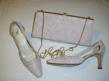 Designer Gina shoes matching bag.Dusky pink/silver.size 4 .