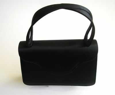 Designer bag Magrit black satin top handle evening bag