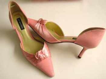 Designer shoes Jacques Vert pale Coral  satin mother bride size 4-4.5