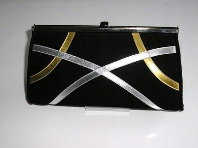 gina black gold silver suede clutch