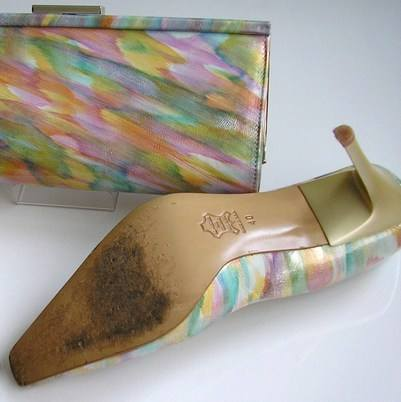 Carmen provada shoes matching bag pastels size7 003